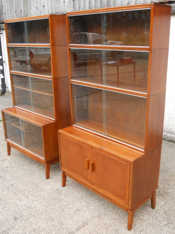 Pair Mahogany Glass Fronted Bookcases By Minty Sold